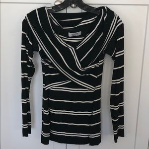 Bailey 44 Black and White Stripe Top Size M